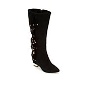midnight velvet fringe stones boot