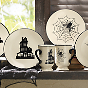 halloween mugs and plates