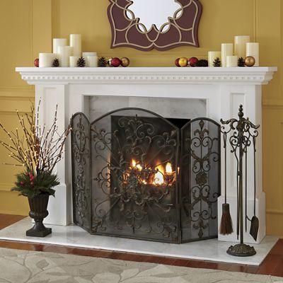 oversized fleur de lis fireplace screen from montgomery