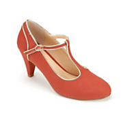 monroe and main gold trim t strap shoe