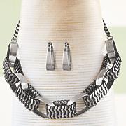 large link necklace hoop set