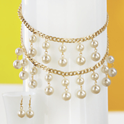 faux pearl 2 strand necklace earring set