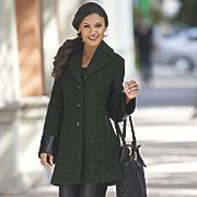 leather trim coat