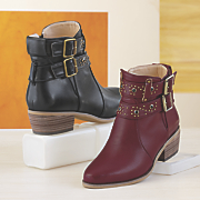 Monroe and Main Double Strap Studded Bootie