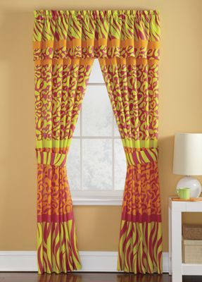 Neon animal print window treatments from ginny 39 s for Animal print window treatments