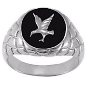 men s black onyx eagle ring