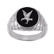men s black onyx eagle ring