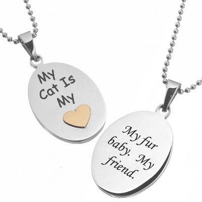 Personalized My Cat Is My Heart Pendant