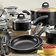 basic essentials 17 pc aluminum cookware set