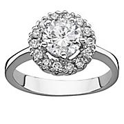 halo cubic zirconia engagement ring