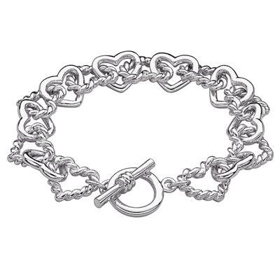 Linked Hearts Toggle Bracelet