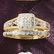 square cluster frame bridal set