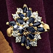 Sapphire Marquise Cluster Ring