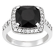 large cushion cut onyx and cubic zirconia ring
