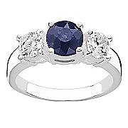 sapphire cubic zirconia 3 stone ring