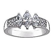 marquise cubic zirconia trio ring