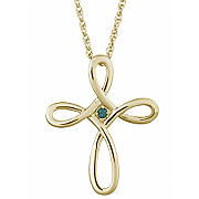 Birthstone Loop Cross Pendant