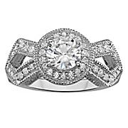 milgrain cubic zirconia engagement ring