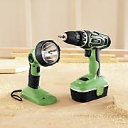 kawasaki 2 pc cordless drill and flashlight set