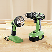 kawasaki 2 pc cordless drill and flashlight set