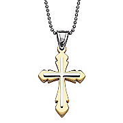 two tone polished cross pendant
