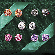 5 pair multicolored swarovski crystal ball post earring set