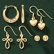 14k gold over sterling silver 4 pair earring set