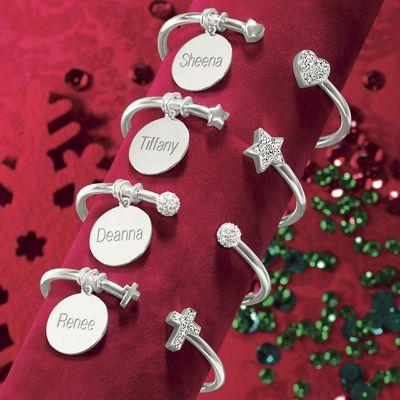 Name/Crystal-Charm Cuff Bracelet