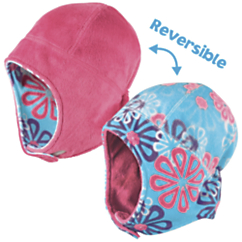 Cozy Cub Polar Fleece Reversible Hat Snowflake Hot Pink