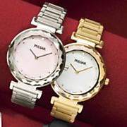 women s goldtone faceted crystal bracelet watch by pulsar