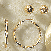 hoop and ball post earring set