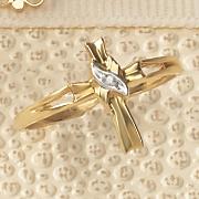 10k gold diamond accent cross ring