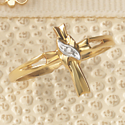 10k gold diamond accent cross ring