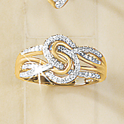 diamond circle ribbons ring