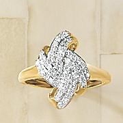diamond oblong folds ring