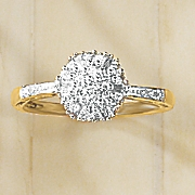 diamond round baguette cluster ring