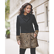 Faux Fur Leopard Colorblock Coat
