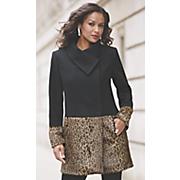 faux fur leopard colorblock coat