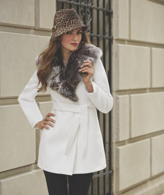 Faux Fur-Collar Coat