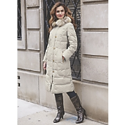 quilted coat with faux fur collar