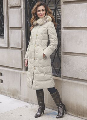 Quilted Coat with Faux Fur Trimmed Hood