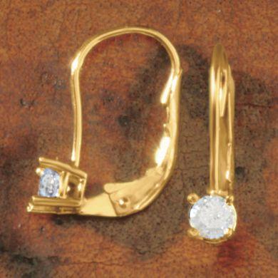 Diamond Solitaire Leverback Earrings