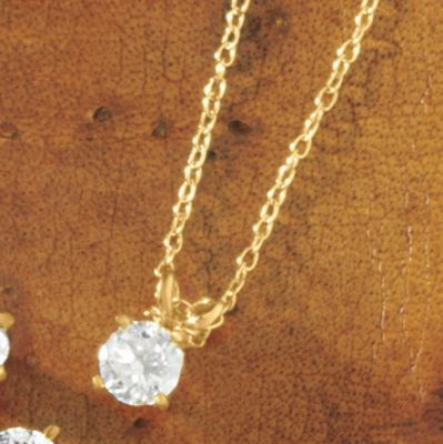 "Diamond Solitaire Pendant On 18"" Chain"