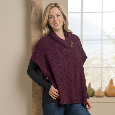 Side-Button Poncho-Style Sweater