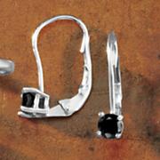 Black Diamond Solitaire Leverback Earrings