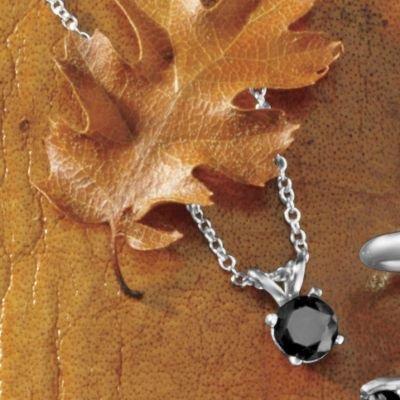 "Black Diamond Solitaire Pendant On 18"" Chain"