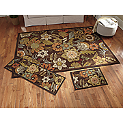 3 pc floral rug set