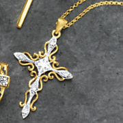 diamond cross filigree pendant