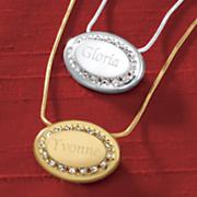 name crystal oval pendant