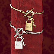 name lock key charm wire bangle